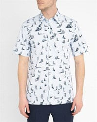 Carven Sky Blue Checked Cartoon Man Patterns Short Sleeve Shirt