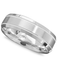 Macy's Men's 14K White Gold Ring Engraved 6Mm Band Size 6 13