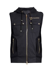 Balmain Panelled Wool Blend Twill Hooded Gilet Navy