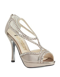 Elive From The Red Carpet Alice Satin Platform Stilettos Mushroom Metallic Leather