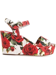Dolce And Gabbana Rose Print Brocade Wedge Sandals Multicolour