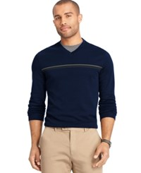 Van Heusen Interlock Stripe V Neck Sweater Blue Black