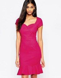 Paper Dolls Cap Sleeve Midi Dress With Fluted Hem Pink