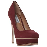 Steve Madden Kiss Platform Stiletto Heel Court Shoes Burgundy Nubuck