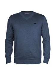 Raging Bull V Neck Cotton Cashmere Sweater Blue