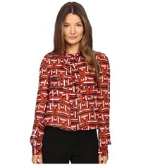 Just Cavalli Sonya Print Bow Blouse W Chest Pockets Geranium