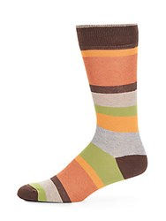 Saks Fifth Avenue Made In Italy Striped Socks Brown