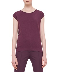 Akris Punto Cap Sleeve Round Neck Top Garnet