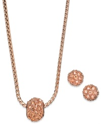 Charter Club Brown Peach Pave Ball Pendant Necklace And Stud Earring Set