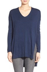 Trouve Women's Trouve V Neck Tunic Sweater Navy Indigo