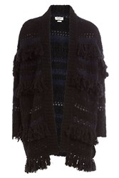 Zadig And Voltaire Fringed Cardigan With Wool Alpaca Black