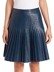 Rebecca Taylor Faux Leather Pleated Skirt Teal