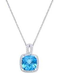Macy's Blue Topaz 4 3 4 Ct. T.W. And Diamond 1 4 Ct. T.W. Pendant Necklace In 14K White Gold