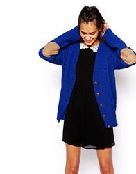 Glamorous Cable Knit Cardigan With Elbow Patch Cobaltblue