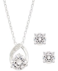 City By City Silver Tone Round Crystal Pendant Necklace And Earrings Set