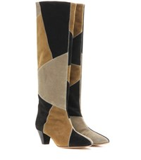 Isabel Marant Ross Suede Knee High Boots Black