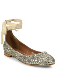 Tabitha Simmons Daria Glitter Ankle Wrap Ballet Flats Champagne Glitter