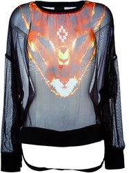 Marcelo Burlon County Of Milan Sheer Animal Print Top Black