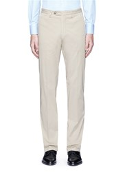 Canali Regular Fit Stretch Cotton Chinos Neutral
