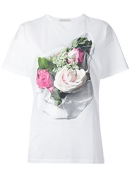 Christopher Kane Rose Print T Shirt White