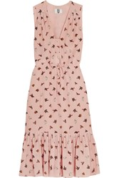 Topshop Unique Campion Printed Silk Crepe De Chine Midi Dress Baby Pink