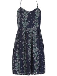 Tenki Sleeveless Floral Pattern Strappy Dress Blue