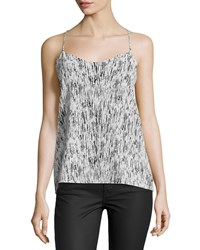 Dex Reversible High Low Halter Camisole Black White Paint Stroke Combo