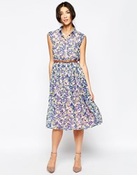 Sugarhill Boutique Charlie Midi Shirt Dress In Watercolour Floral Print Pink