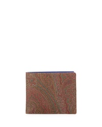 Etro Paisley Printed Leather Wallet Multi