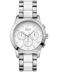 Lacoste Women's Charlotte Stainless Steel And White Tr90 Bracelet Watch 40Mm 2000962 Silver