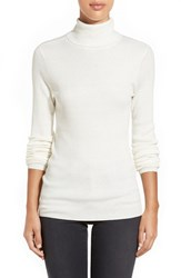 Petite Women's Halogen Long Sleeve Ribbed Turtleneck Ivory Cloud