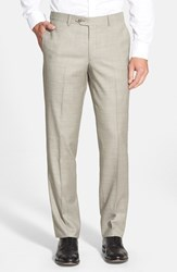 Men's Big And Tall Nordstrom Flat Front Solid Wool Trousers Tan