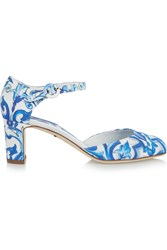 Dolce And Gabbana Printed Faille Mary Jane Pumps Blue