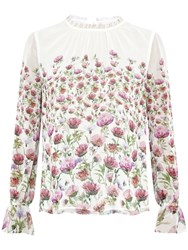 Ted Baker Luceal Thistle Print Sheer Top Cream