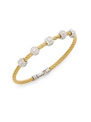 Alor Diamond 18K Yellow Gold And Steel Coil Bracelet