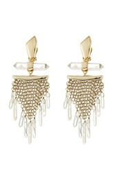 Alexis Bittar Dangling Rock Crystal Mesh Clip Earring Gold