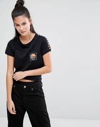 Ellesse Retro Fitted T Shirt With Tape Detail Black