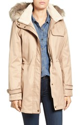 Larry Levine Women's Faux Shearling And Faux Fur Trim Water Repellent Parka With Detachable Hood Khaki