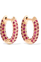 Carolina Bucci Huggy 18 Karat Rose Gold Sapphire Earrings Red
