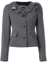 Boutique Moschino Frill Neck Fitted Jacket Black