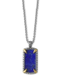 Effy Men's Lapis Lazuli Claw Pendant Necklace 10 9 10 Ct. T.W. In Sterling Silver With 18K Gold Plate Blue