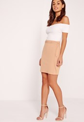 Missguided Crepe Tie Waist Mini Skirt Nude Beige