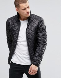 Blend Of America Blend Quilted Jacket Nylon Diamond Stitch In Black Black