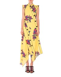 Floral Print Asymmetric Midi Dress Yellow Blue Yellow Blue