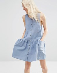 Asos Sleeveless Button Through Smock Dress Blue