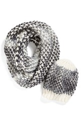 Women's Halogen Ombre Knit Beanie And Infinity Scarf White White Multi
