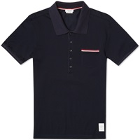Thom Browne Pique Pocket Stripe Polo Navy