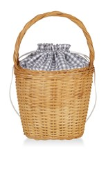 Edie Parker Lily Gingham Basket Tote Light Grey