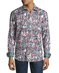 Robert Graham Molten Metal Woven Button Front Shirt Multi