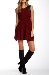 Vfish Entice Faux Leather Contrast Jacquard Dress Red